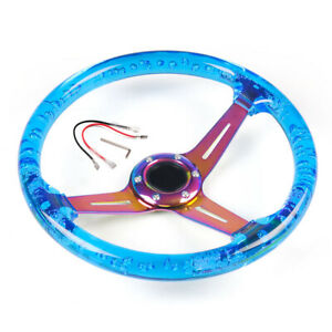 350mm 14inch Abs 71mm Deep Dish Racing Acrylic Steering Wheel Neo Chrome Blue