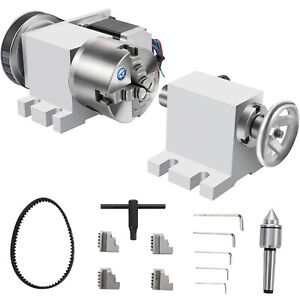 Vevor 4th Axis Home Cnc Milling Machine 100mm 4 jaw Chuck Rotary Axis 2 Phase