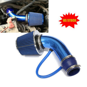 76mm 3 Inch Car Cold Air Intake Filter Aluminum Induction Hose Pipe Kit Blue