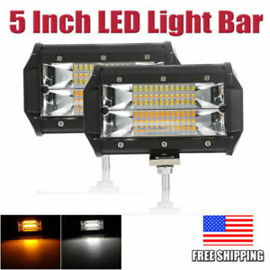 2x 5 72w Led Car Work Light Bar Spot Beam Fog driving Lamp Amber White Offroad