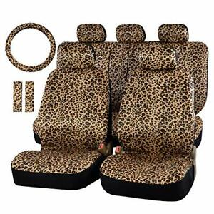 Autofan Zebra leopard Car Seat Covers For Full Set With 2 Seat Belt Pads Univer