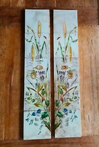 Rare Victorian Set Of 10 Fireplace Tiles Hand Painted 1885