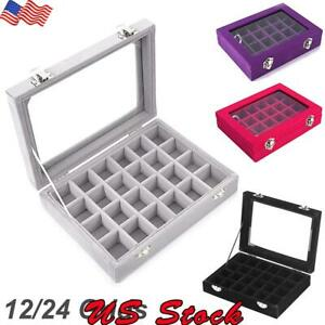12 24 Grids Jewelry Ring Earring Display Organizer Case Tray Holder Storage Box