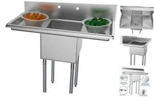 1 Compartment Stainless Steel Nsf Commercial Kitchen Prep 2 Drainboards