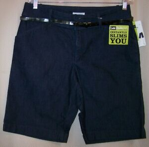 NWT Womens Lee 12 M Natural Fit Slimming Indigo Denim Bermuda Short w Belt NEW $13.99