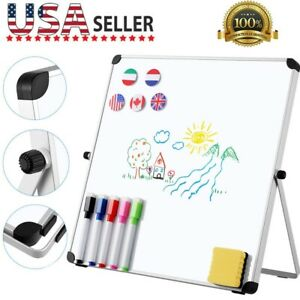Magnetic Dry Erase Board Double Sided White Board Pen W stand For Home School