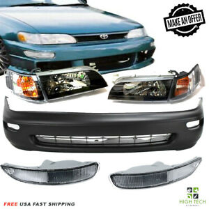 For 93 97 Toyota Corolla Front Black Headlights Front Bumper Fog Lamps