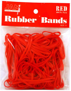 Jam Paper Colorful Rubber Bands Size 33 Red Rubberbands 100 pack
