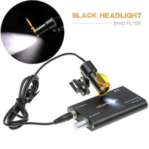5w Dental Led Headlight Clip on With Filter For Binocular Loupes Black Us Stock