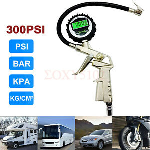 300 Psi Digital Tire Inflator With Pressure Gauge Air Chuck For Truck Car