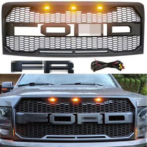 For Ford F150 Grille Bumper Grill 2009 2014 Raptor Style Grill W Led Matte Black