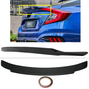 For 2016 2020 Honda Civic 4dr Sedan Black Rear Trunk Wing Spoiler Lower Duckbill