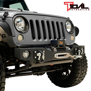 Tidal Stubby Front Bumper W Winch Plate D ring Fit For 07 18 Jeep Jk Wrangler
