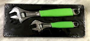 New Snap on Green 2pc Flank Drive Plus Adjustable Wrench Set Fadh702ag