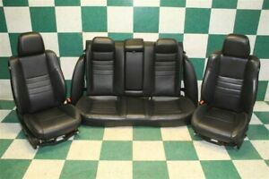 11 14 Charger Black Leather Power Front Buckets Backseat Heated Seat Set Oem