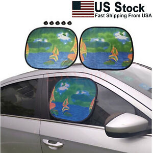 2pcs Left Right Side Window Sun Shade Cover Uv Protector For Car Truck Cartoons