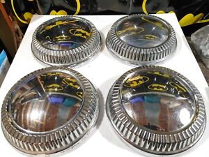 Set Of 4 Mopar Plymouth Poverty Dog Dish Hubcaps 1960 s 10