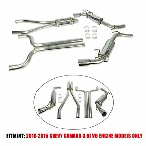 For 2010 2015 Chevy Camaro 3 6l V6 Stainless Dual Muffler Catback Exhaust System