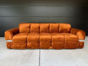 Vintage Sofa Couch Settee Crushed Velvet Tufted Mid Century Orange Crush A