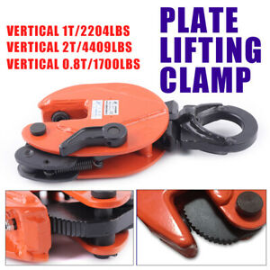 0 8t 1t 2t Industrial Vertical Plate Lifting Clamp 180 rotation Heavy Duty Lift