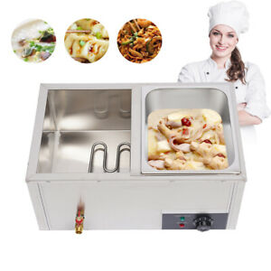 Countertop Food Warmer Stainless 2 pan Bain marie Steamer Steam Table For Buffet