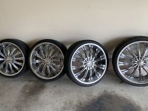 22 Borghini Wheels Chrome Rims With Tire Set