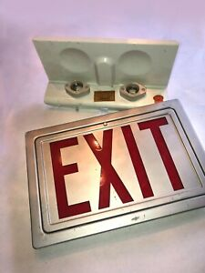 Vintage Exit Sign Glass And Metal Frame With Working Bulb Sockets