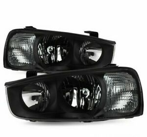 For 2001 2003 Hyundai Elantra Black Clear Headlights Replacement Right Left Set