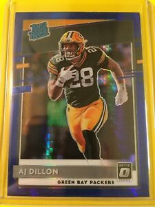 🔥🔥2020 Donruss Optic AJ DILLON Blue Hyper PRIZM Rated Rookie #174 GB Packers $14.95