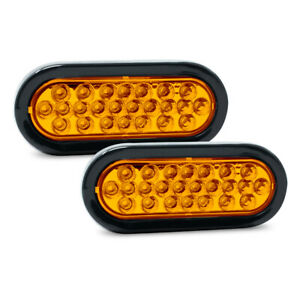 Pair Of Pro Led St65a 6 Oval Amber Strobe Lights Replaces Buyers Sl65ao