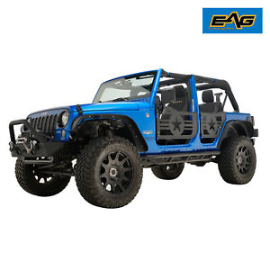 Eag Military Tube Door Black With Mirror Pair Fit For 07 18 Jeep Jk Wrangler 4dr