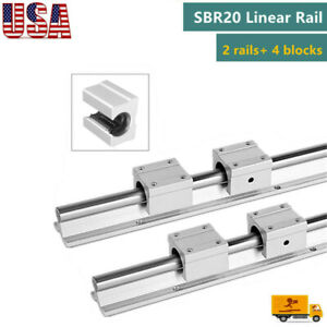 2x Sbr20 Linear Slide Rail Guide Shaft Rod 200 2200mm 4x Sbr20uu Bearing Block
