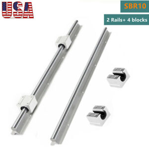 Sbr10 Linear Slide Rail Guide Shaft Rod 300 1000mm 4x Sbr10uu Bearing Block Cnc