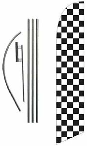 Checkered Black And White Advertising Feather Banner Swooper Flag Sign With