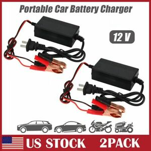2 Pack Car Battery Maintainer Charger Tender 12v Auto Trickle Boat Motorcycle