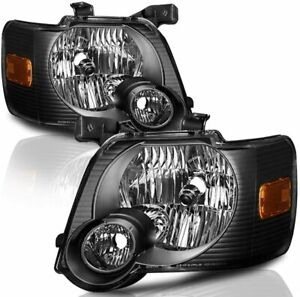For 2006 2010 Ford Explorer Black Housing Headlights Headlamps Replacement 2pcs