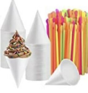 White Snow Cones Cups With Spoon Straws assorted Colors 400ct Each