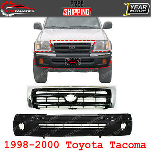 Front Bumper Cover Primed Grille Chrome Shell Insert For 1998 00 Toyota Tacoma