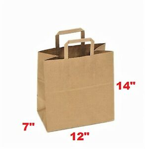 Paper Bag 12 x7 x14 With Flat Handle Case Of 50 Free Shipping
