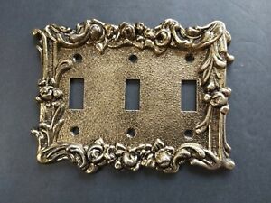 Vintage Solid Brass Triple Light Switch Plate Cover Ornate Retro