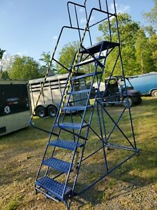 Louisville Industrial Steel Rolling Step Ladder With Handrails 9 Step