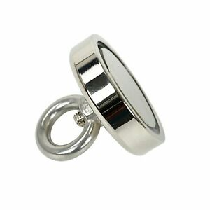 350 Lbs Fishing Magnet Super Strong Neodymium Round Thick Eye Bolt 2 36 Inch