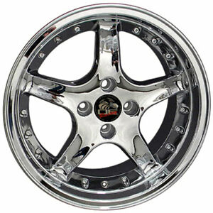 17 Chrome W rivets Wheel 17x9 Fit For Mustang Cobra R Deep Dish Style Rim