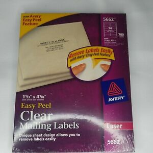 700 Avery 5662 Clear Mailing Labels 1 1 3 X 4 1 8 Laser