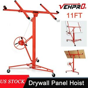 11ft Drywall Panel Lift Hoist Dry Wall Rolling Caster Lifter Construction 150lb