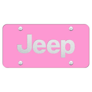 Licensed Pink License Plate Laser Etched For Jeep Augd6614