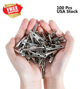 Steel Alligator Clips Crocodile Clamps Silver Battery Test Clips Lead 100 Pcs