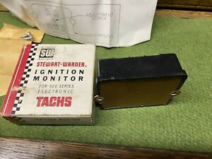 Nos Vintage Stewart Warner Tachometer Ignition Monitor 990d