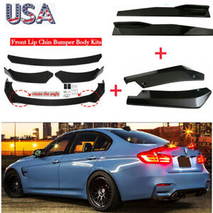 8 Pcs Glossy Black Car Bumper Spoiler Body Kit Side Skirt rear Lip