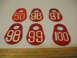 Vintage Cow Dairy Livestock Number Tags Red Double Sided